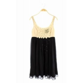 【中古】グレースクラス GRACE Class ワンピース 膝丈 ドレス シフォン ノースリーブ ビジュー パール 36 黒 白 /KN レディース