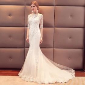 トレーンドレス 編み上げ ブライダルドレス ホワイト 結婚式 ボートネック レース ウェディングドレス きれいめ マーメイドドレス