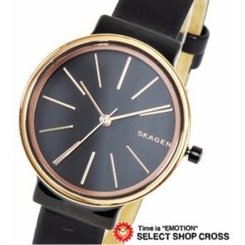 SKAGEN スカーゲン クオーツ 腕時計 レディース レザー ローズゴールド×ブラック SKW2480