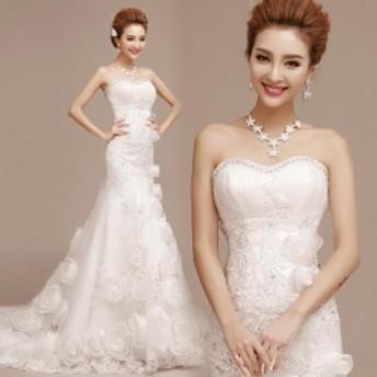 ウェディングドレス トレーン マーメイドドレス 着痩せ オフショルダー おしゃれ 編み上げ ブライダルドレス ホワイト レッド 結婚式