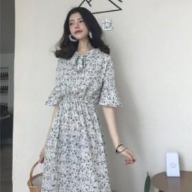 レディース ワンピース 小花柄 ロングワンピース レトロ感が可愛い 半袖 フリル 大きいサイズ 女子会 デート 20代 30代