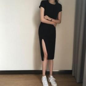 ワンピース 半袖 ひざ丈 ブラック 無地 シンプル Uネック 春 夏 ミディアム丈 スリット ゆったり カジュアル 大きいサイズ