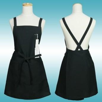 ショート丈 エプロン 黒 丈が短めなので動きやすい シンプル おしゃれ かわいい サロン 飲食店 制服 ユニホーム レディース 女性