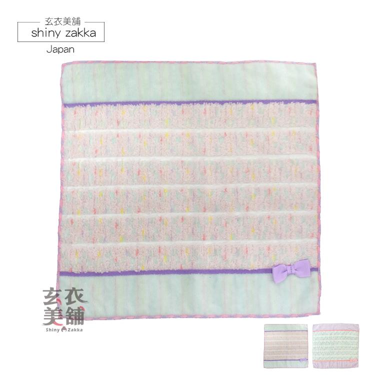 日本毛巾-蝴蝶結條紋小方巾-藍.紫-玄衣美舖