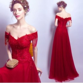 ウェディングドレス 結婚式ワンピース 色鮮やか Vネック マキシドレス エレガントスタイル ロング丈ワンピ-ス