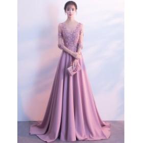 豪華 上品 Vネック ロングドレス トレーン フォーマルドレス イブニングドレス パーティードレス 宴会 卒業式 コンサート 編み上げ