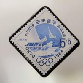 日本 東京オリンピック切手ブローチ 3732