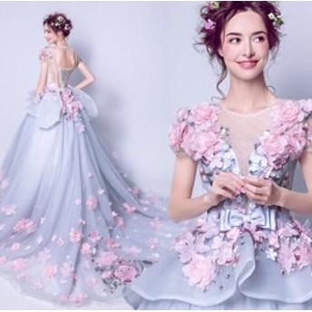 ウェディングドレス 結婚式ワンピース ブライズメイド きれいめ 花柄 蝶結び付き お呼ばれ 謝恩会 結婚式 パーティードレス