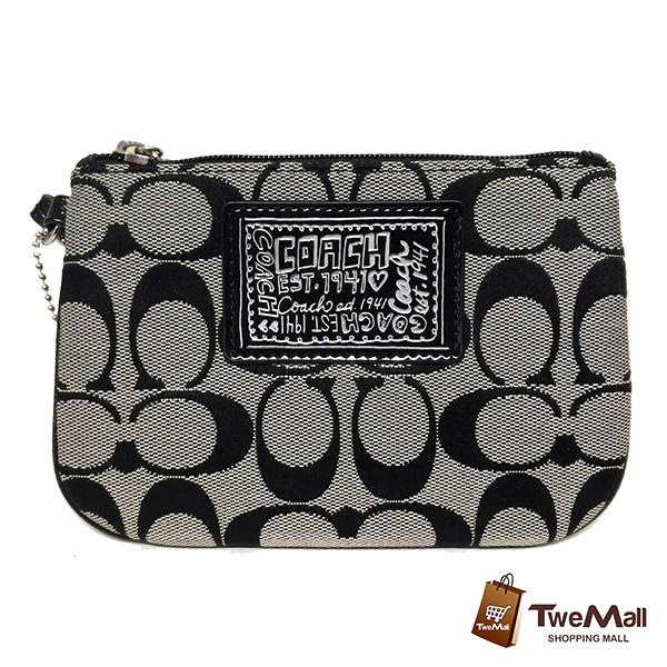 COACH 黑灰織布萬用手拿包/零錢包