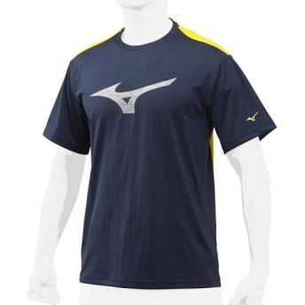 MIZUNO SHOP [ミズノ公式オンラインショップ] 【グローバルエリート】Tシャツ/丸首[ユニセックス] 74 ディープネイビー×サイバーイエロー 12JA8T82
