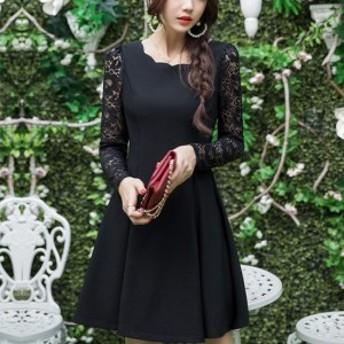 ロングスリーブレースドレス 結婚式 二次会 異素材ミックス スリム効果 ドレス ワンピース