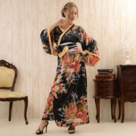 即納 花魁風帯付 和柄 着物 浴衣 サテン ロングドレス コスプレ よさこい キャバ嬢