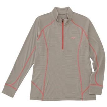 MIZUNO SHOP [ミズノ公式オンラインショップ] ドライアクセルボーダー長袖ジップネックシャツ[レディース] 48 シルバーミンクベージュ A2JA6266_h