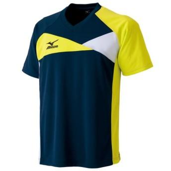 MIZUNO SHOP [ミズノ公式オンラインショップ] ドライサイエンスゲームシャツ(卓球)[ユニセックス] 14 ドレスネイビー×ライムグリーン 82JA5500