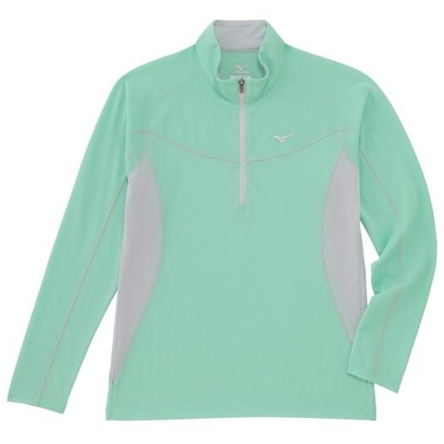 MIZUNO SHOP [ミズノ公式オンラインショップ] ドライベクターライトインナー長袖ジップネックシャツ[レディース] 34 ペールアクアグリーン A2JA6261