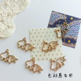 6個入 金魚枠のチャーム/空枠 マットゴールド 色彩屋吉宗