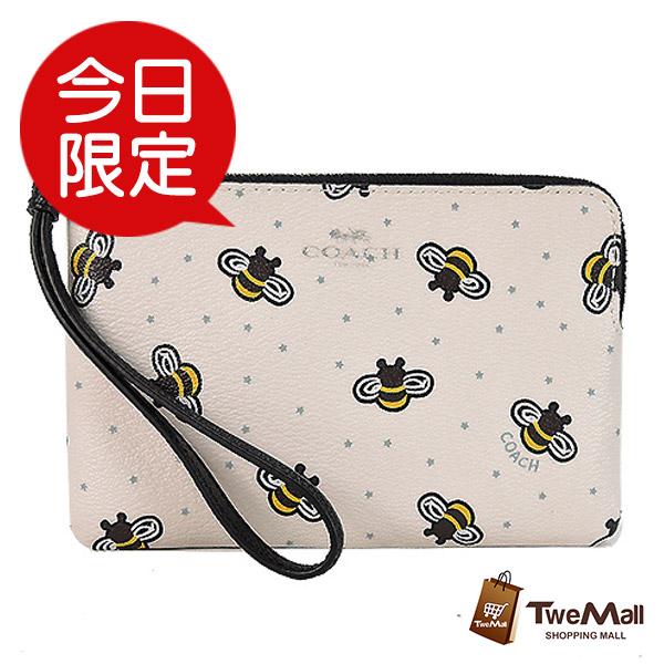 COACH 米白可愛小蜜蜂防刮皮革手拿包/零錢包