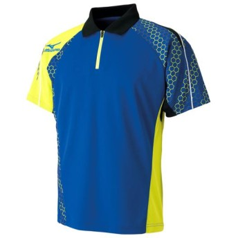 MIZUNO SHOP [ミズノ公式オンラインショップ] ゲームシャツ(2016年卓球日本代表モデル)[ユニセックス] 25 サーフブルー×ライムグリーン 82JA6003