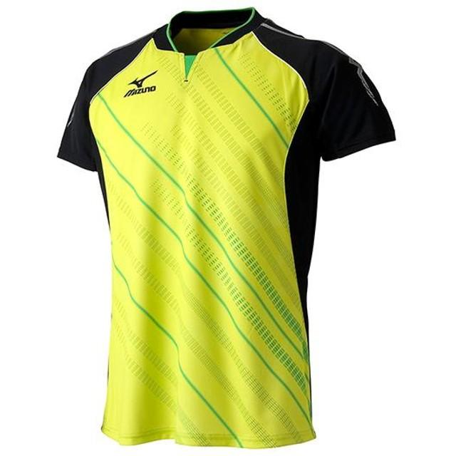 MIZUNO SHOP [ミズノ公式オンラインショップ] ゲームシャツ(2015年卓球日本代表モデル) 37 ライムグリーン×ブラック 82JA5001