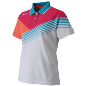 MIZUNO SHOP [ミズノ公式オンラインショップ] ゲームシャツ(ラケットスポーツ)[レディース] 76 ホワイト×ピンクグロー 62JA8202