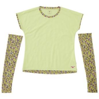 MIZUNO SHOP [ミズノ公式オンラインショップ] 【プラスミー】タルチョ 半袖Tシャツ(アームガード付き)[レディース] 37 サニーライムグリーン A2JA6227