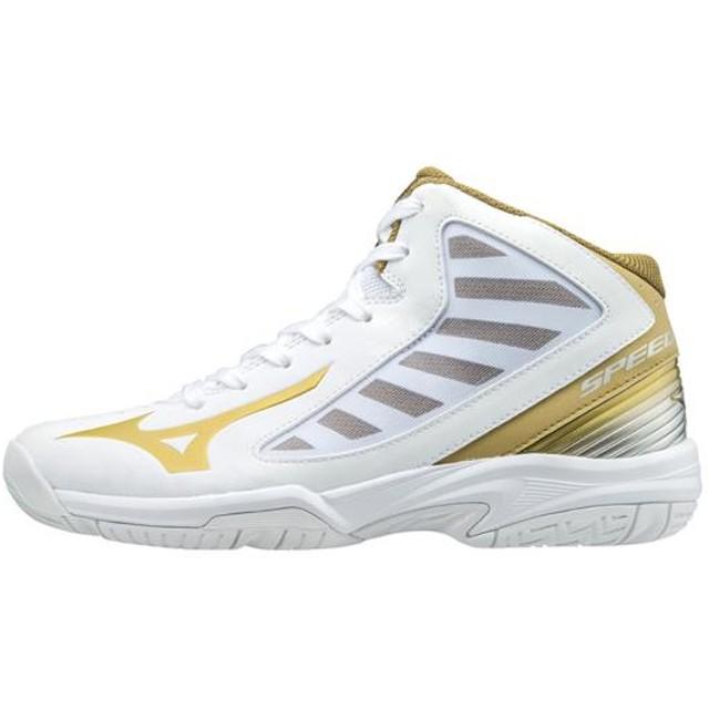 MIZUNO SHOP [ミズノ公式オンラインショップ] スピードチェイサーSL(バスケットボール)[ジュニア] 50 ホワイト×ゴールド W1GC1760