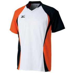 MIZUNO SHOP [ミズノ公式オンラインショップ] ゲームシャツ(ラケットスポーツ) 01 ホワイト×フレイムオレンジ 72MA5005