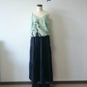 フレンチリネンのロングティアードスカート(ブラック)