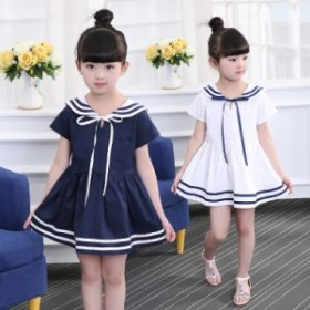 ◇半袖ワンピース◇韓国子供服 リボン チェック ネイビー 春 夏 女の子 キッズ ジュニア110-160cm