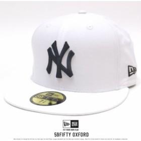 ニューエラ ベースボールキャップ 帽子 NEW ERA オックスフォード ニューヨーク・ヤンキース ホワイト×ブラック (11557545)