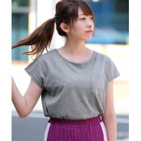 アンドジェイ 汗染み防止加工フレンチスリーブポケットTシャツ レディース グレー M 【ANDJ】