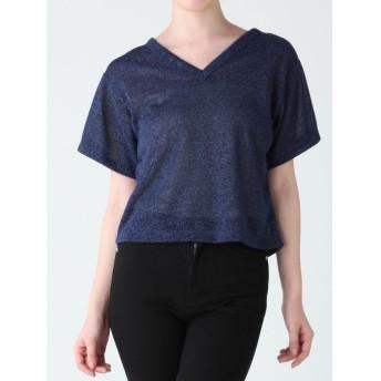 【70%OFF】 ムルーア VネックラメTシャツ レディース ネイビー F 【MURUA】 【セール開催中】