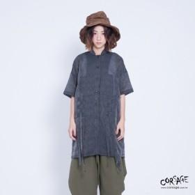 コサージュ ステッチ織 シャツ 半袖