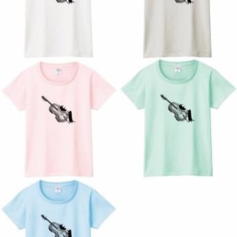 チェロと黒猫のTシャツ