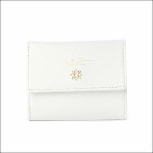 サマンサタバサ プチチョイス フラワーモチーフシリーズ がま口折財布 オフホワイト