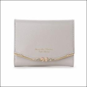 サマンサタバサ プチチョイス リボンバー金具シリーズ 折財布 グレージュ