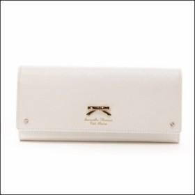 サマンサタバサ プチチョイス シンプルリボンプレート(かぶせ長財布)ホワイト