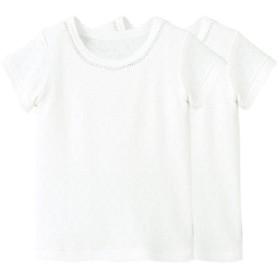 【30%OFF】 コンビミニ レース半袖Tシャツ2枚組 レディース オフホワイト 80cm 【Combimini】 【セール開催中】