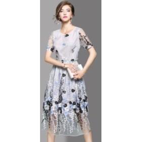 花柄 シースルー ミモレ丈 パーティードレス パーティー ドレス お呼ばれ 半袖 上品 水色 30代