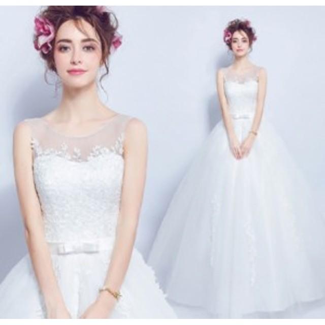 bd3b23982983a 結婚式ワンピース ウェディングドレス 花嫁 ドレス 大人エレガント 優雅 丸襟 ビスチェタイプ 姫系ドレス