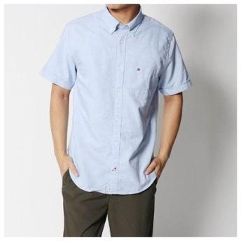 トミーヒルフィガー TOMMY HILFIGER ショートスリーブレギュラーフィットシャツ (ブルー)