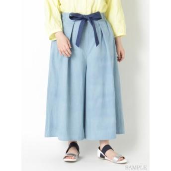 【大きいサイズレディース】【LL-5L展開】フロントリボンワイドパンツ パンツ ワイドパンツ