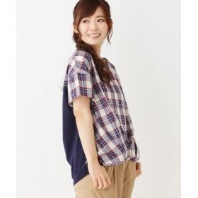 Tシャツ - pink adobe 【裾タック・前後切り替え】チェック&ストライププルオーバ