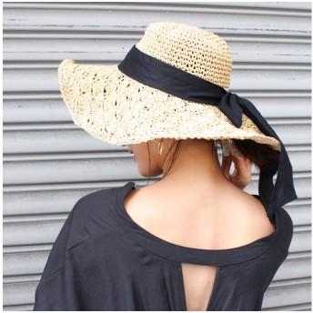 麦わら・ストローハット・カンカン帽 - MODE ROBE リボンペーパーレースハット ワイヤーハット ペーパー 帽子 ホワイト ベージュ ブラウン ストローハット 海 プール フェス シンプルトレンド 流行 大人 可愛い ナチュラル 新作