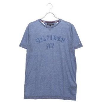 トミーヒルフィガー TOMMY HILFIGER NYロゴヘザーTシャツ (ブルー)