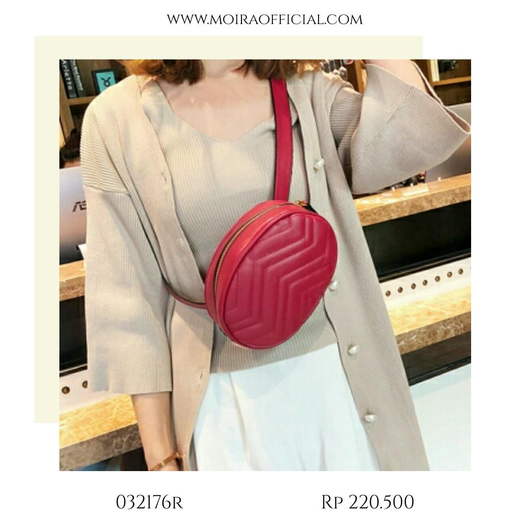 Moiraid Shop Line Tas Selempang Fashion Korea Moir Oval Mini Female Bag Import