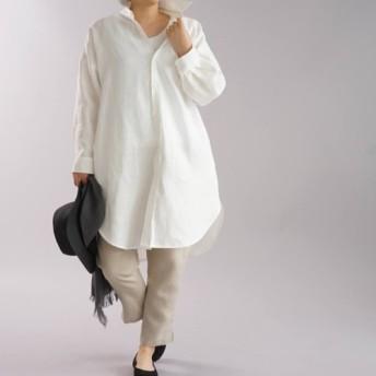 【wafu+】リネンシャツ ビックシルエット ブラウス ドルマンスリーブ 麻シャツ/ホワイト b32-24