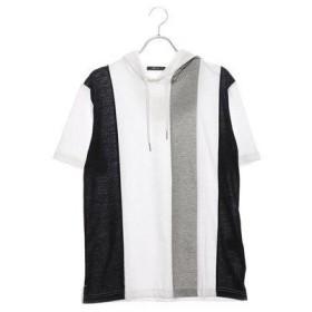 コムサイズム COMME CA ISM ストライプ 切り替え フード Tシャツ (ホワイト)