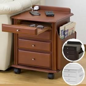 天然木ベッドサイドテーブル KP-920 サイドテーブル 布団まわり ベッド周り ナイトテーブル キャスター付