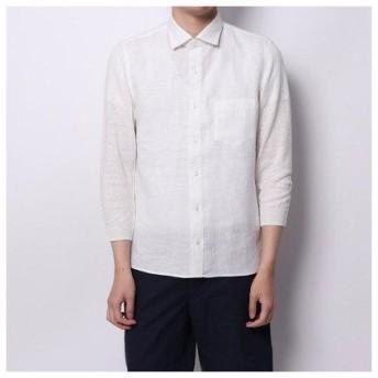 コムサイズム COMME CA ISM ニットスリーブ7分袖シャツ (ホワイト)